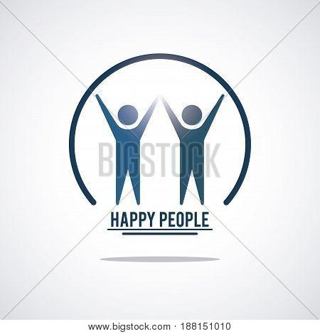 color teamwork happy people with circular frame pictogram hands up inside vector illustration