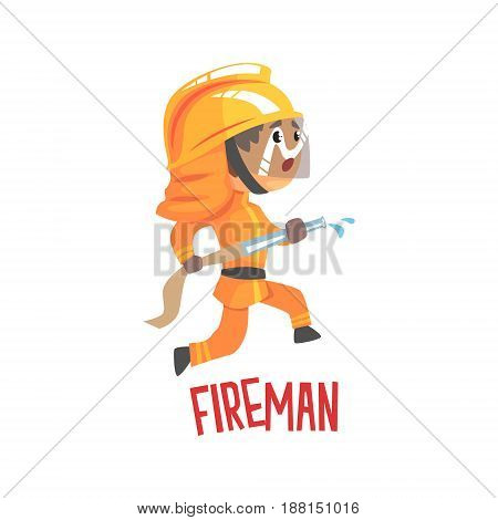 Cute cartoon fireman character using water hose vector Illustration isolated on a white background