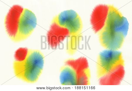 yellow red blue green watercolor spots background