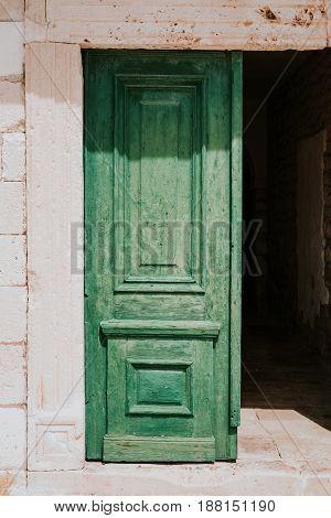 Old green doors in City of Hvar