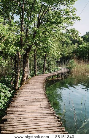 Wood path in the Plitvice national park in spring Croatia