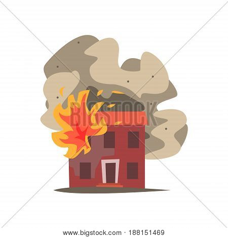 Fire in the window of two storey building vector Illustration isolated on a white background