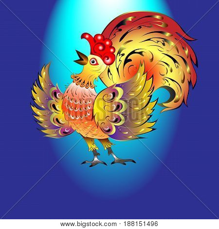 beautiful rooster sings on stage on a blue background