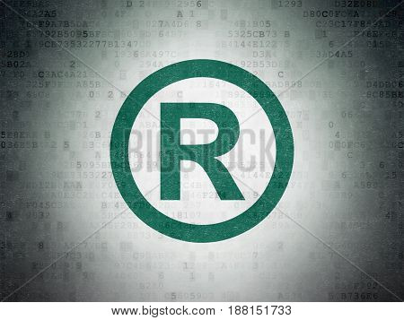 Law concept: Painted green Registered icon on Digital Data Paper background