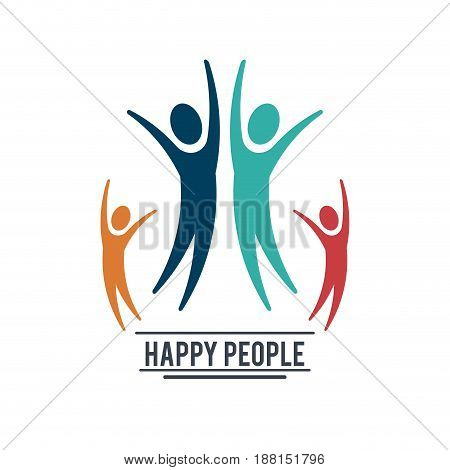 colorful teamwork happy people with four pictograms vector illustration
