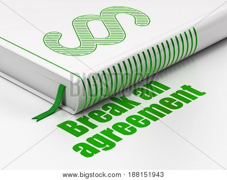 Law concept: closed book with Green Paragraph icon and text Break An Agreement on floor, white background, 3D rendering