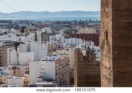 Medieval moorish fortress Alcazaba in Almeria Eastern tip is the bastion of the outgoing Almohade Arch of South Tower overview of the city take in Almeria Andalusia Spain