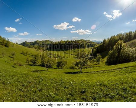 beautiful wide angle landscape green valley can be as background