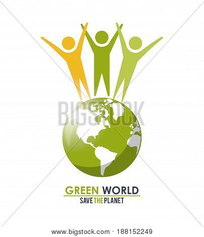 group of people around green globe concept save the planet vector illustration