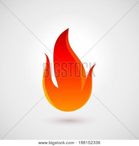Fire Icon in Trendy Flat Style with Shadow. Illustration for Web Site Design