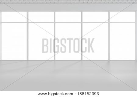 Bright white room with windows. 3d rendering
