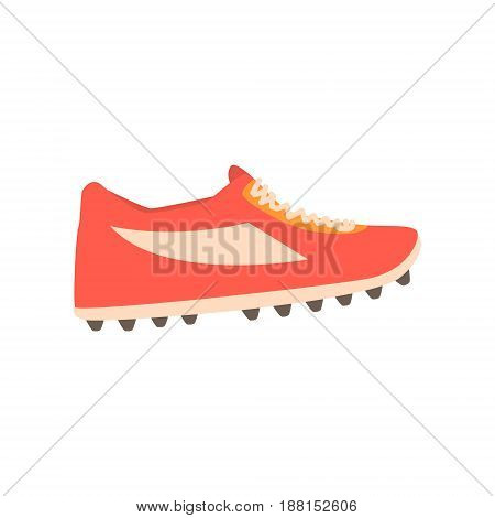 Red spiked football shoe cartoon vector Illustration isolated on a white background