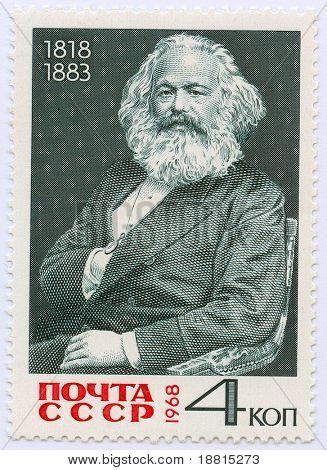Karl Marx on vintage Russian stamp