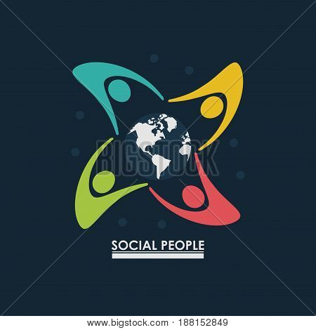 group of people around earth globe concept social people vector illustration