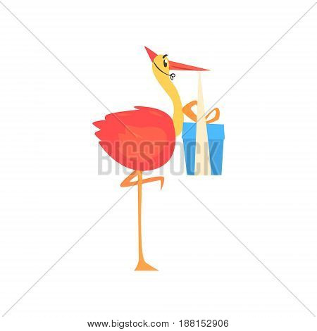 Cute cartoon stork in a red party hat carrying blue gift box cartoon vector Illustration for poster, greeting card, banner