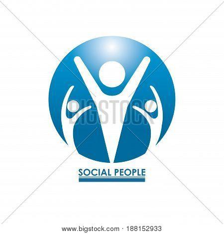 blue color circular frame teamwork social people with pictograms inside vector illustration