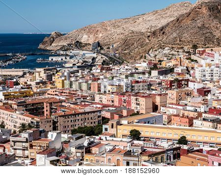 View From The Fortress Of Moorish Houses And Buildings Along The Port Of Almeria, Andalusia, Spain