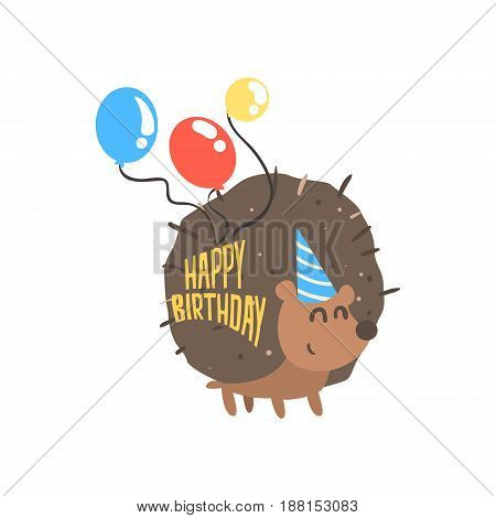Cute cartoon hedgehog in a blue party hat and balloons Happy Birthday colorful vector Illustration for poster, greeting card, banner