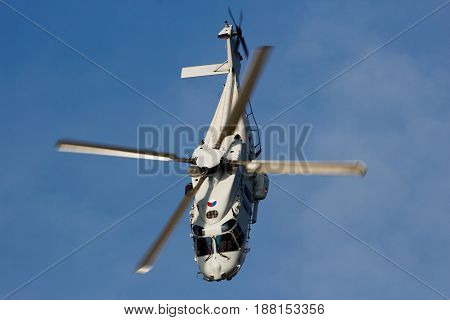 ROTTERDAM NETHERLANDS - SEP 3 2016: Royal Netherlands Navy NH90 helicopter flying during the World Harbor Days in Rotterdam.