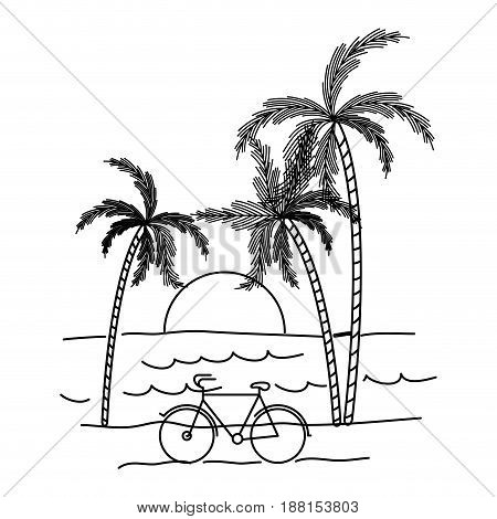 black silhouette with landscape of sea and sunset between palm trees vector illustration