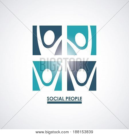 color teamwork social people with square set silhouette pictograms vector illustration