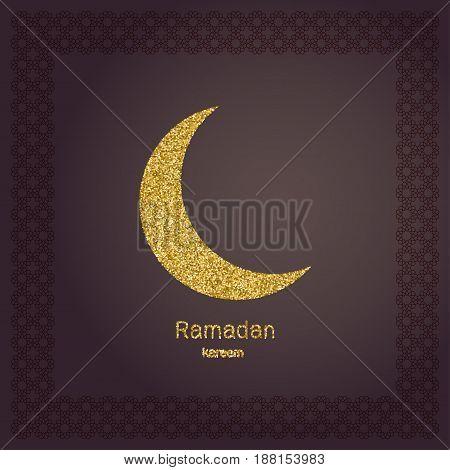 Ramadan Kerim, gold glitter moon. Template design for greeting card, banner, poster, invitation. Vector illustration.