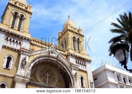 Iconic catholic church in central tunis tunisia