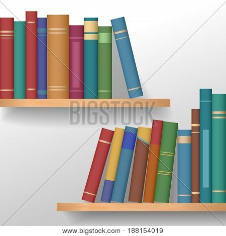Bookshelves with multicolored books. Education and school concept. Vector illustration