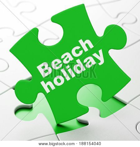 Travel concept: Beach Holiday on Green puzzle pieces background, 3D rendering