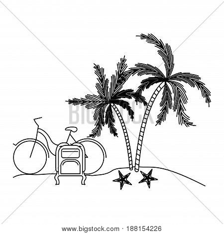 black silhouette with landscape in beach with bike and luggage next to palm trees vector illustration