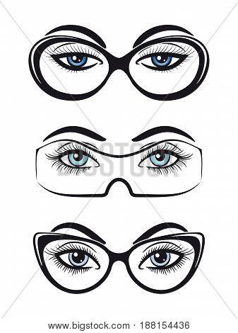 Female eyes with glasses set isolated on white background. Vector illustration