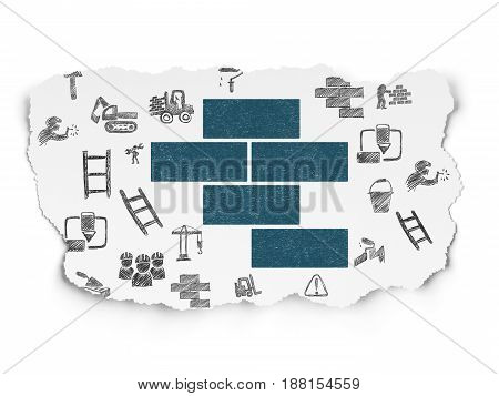 Building construction concept: Painted blue Bricks icon on Torn Paper background with  Hand Drawn Building Icons
