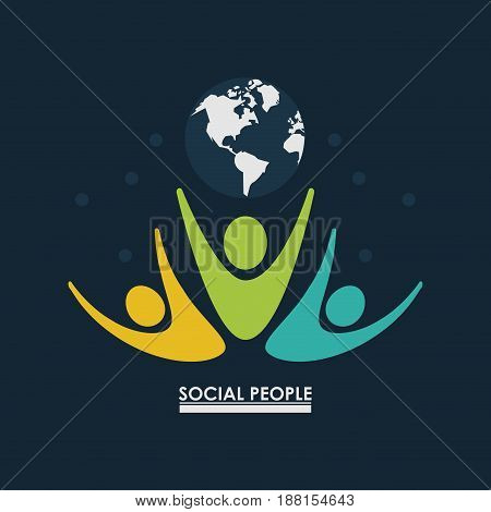 pictogram people with earth globe concept social people vector illustration