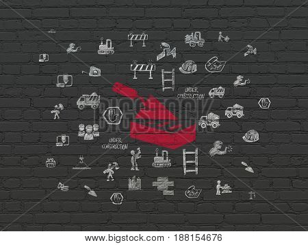 Building construction concept: Painted red Brick Wall icon on Black Brick wall background with  Hand Drawn Building Icons