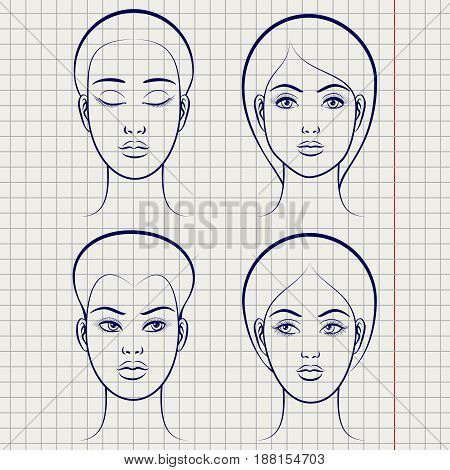 Ballpoint pen female faces on notebook page background. Vector illustration