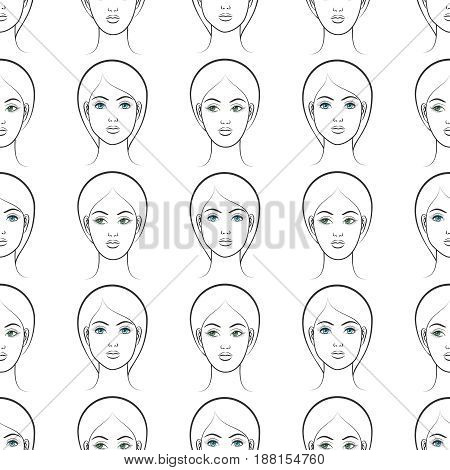 Female faces seamless pattern. Vector seamless texture with blue and green eyes female faces