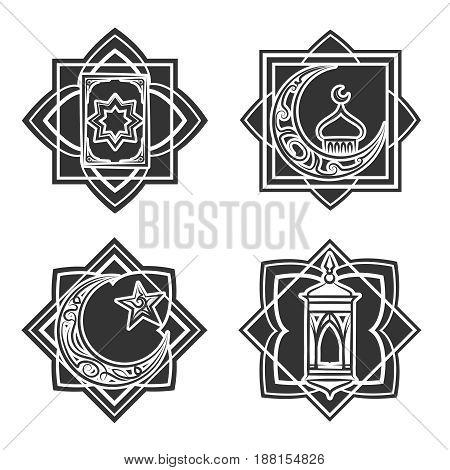 Islamic ornate emblem set isolated on white background. Vector illustration