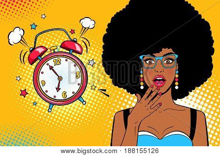 Wow female face. Sexy young surprised african american woman with open mouth and afro hair bright makeup and alarm clock ringing. Vector background in pop art retro comic style. Party invitation poster.