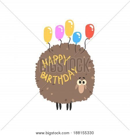 Cute cartoon sheep with colorful balloons Happy Birthday colorful vector Illustration for poster, greeting card, banner