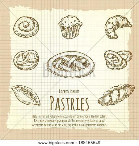 Vintage poster of bakery or pastries products. Vector illustration