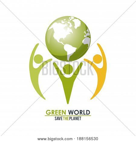 group of people holding a green globe world concept save the planet vector illustration