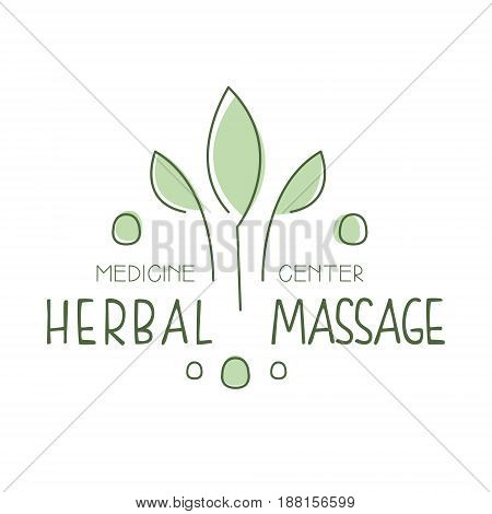 Herbal massage medicine center logo symbol vector Illustration for business emblem, alternative medicine, homeopathy, holistic or ayurveda medicine center