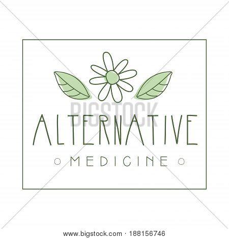 Alternative medicine logo symbol vector Illustration for business emblem, badge for yoga studio, homeopathy, holistic medicine center