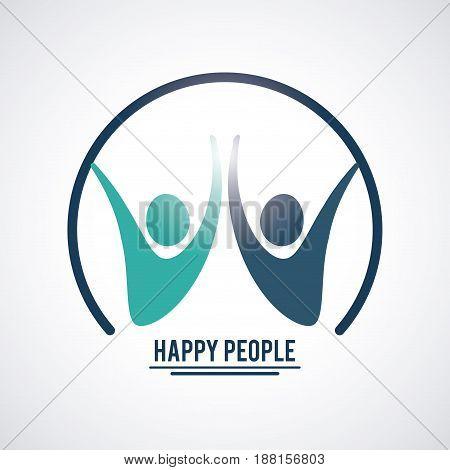 circular frame set pictogram hands up inside concept happy people vector illustration