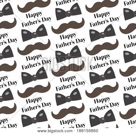 Mustache, Bow tie seamless patterns. Father's Day holiday concept repeating texture, endless background. Vector illustration
