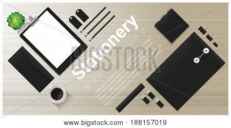 Stationery background with office equipment on wooden table , vector , illustration