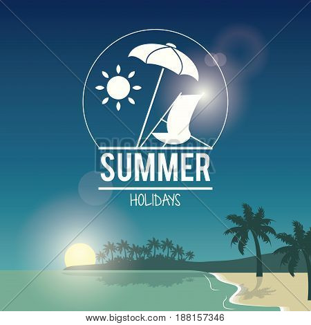 beautiful poster seaside with logo summer holydays vector illustration