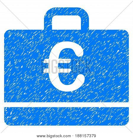 Grunge Euro Case icon with grunge design and dust texture. Unclean vector blue pictogram for rubber seal stamp imitations and watermarks. Draft sticker symbol.