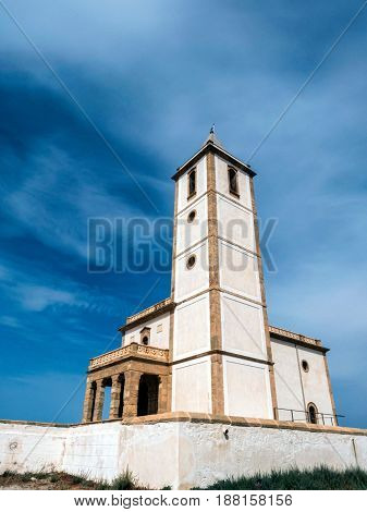 San Miguel Beach And Salinas Church, Take In Cabo De Gata, Almeria, Andalusia, Spain