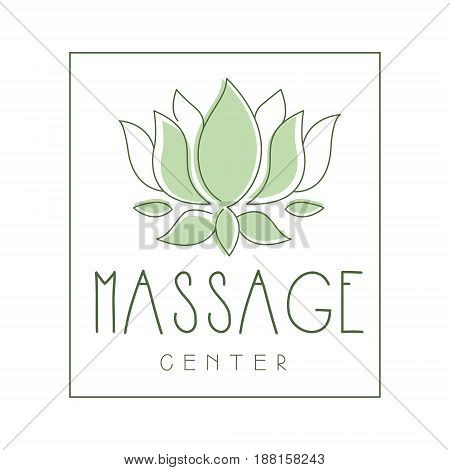 Massage center logo symbol vector Illustration for business emblem, alternative medicine, homeopathy, holistic or ayurveda medicine center